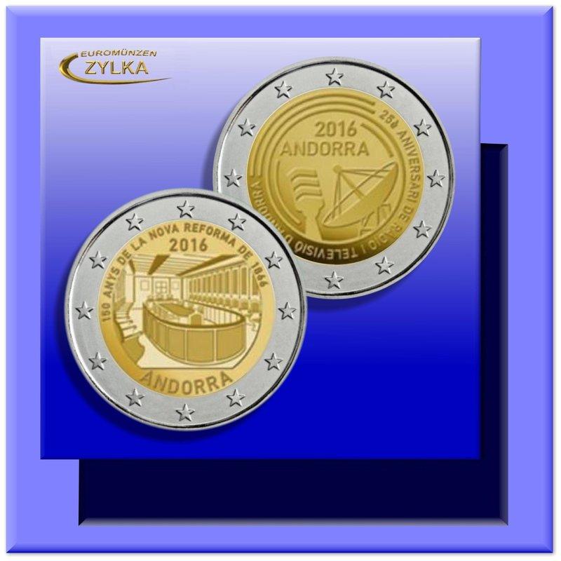 2 x 2 Euro Andorra 2016: Gedenkmünzen im Set